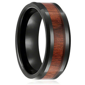 Hawaiian Koa Wood and Black Tungsten ring